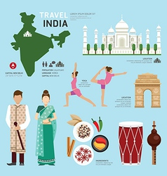 Travel Concept India Landmark Flat Icons Design vector image