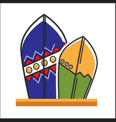 two traditional painted surfboards vector image