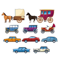 Vintages classec and modern cars with horse vector