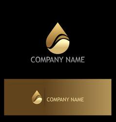 Water drop eco gold logo vector