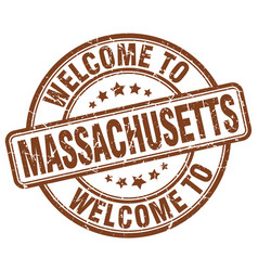 Welcome to massachusetts brown round vintage stamp vector