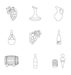 Wine products growing grapes winevine vector