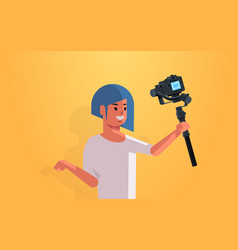 woman blogger holding stabilizer with camera live vector image