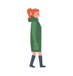 Woman in long green winter coat and leather boots vector