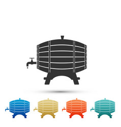 wooden barrel on rack with stopcock icon isolated vector image