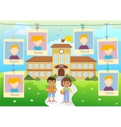 Yearbook about school and two kids vector