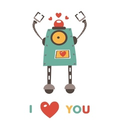 Colorful robot in love character vector image