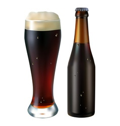 glass and bottle of dark beer on a white backgroun vector image