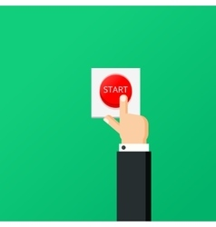 Hand press red button Start project concept Flat vector image vector image