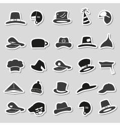 various black and gray hats stickers set eps10 vector image vector image