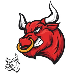 Angry bull head - vector image vector image