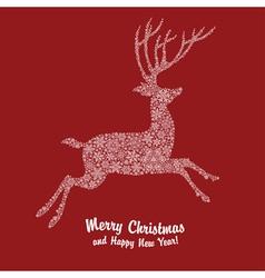 christmas deer on red vector image