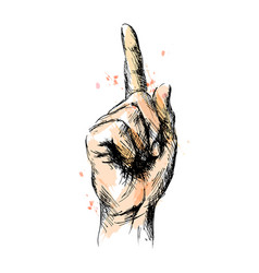 Colored hand sketch of hand with pointing finger vector
