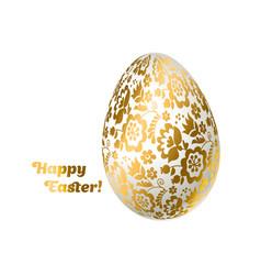 easter egg gold foil decoration floral elegant vector image vector image