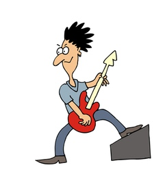 Rock musician guitar player vector image