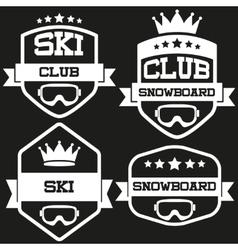 Set of Vintage SKI and Snowboard Club Badge Label vector image vector image