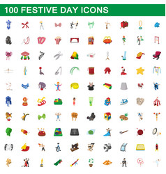100 festive day icons set cartoon style vector image