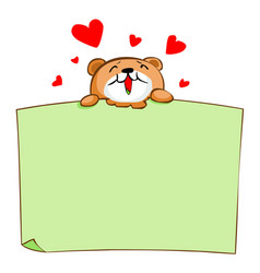 cute brown bear enjoy eat blank board vector image