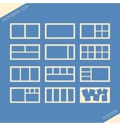 Icon set of location photos in photobook vector