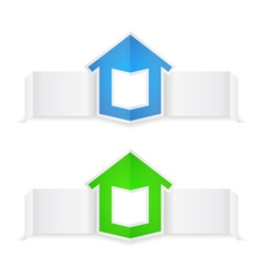 Origami banners with house vector