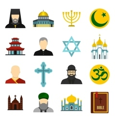 Religious symbol icons set flat style vector image