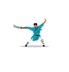 Shaolin monk with a sword sign vector image vector image