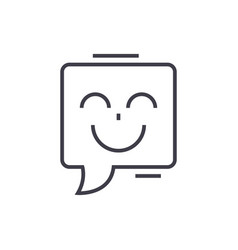 smile chat line icon sign on vector image
