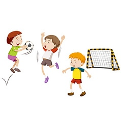 Three boys playing football vector image