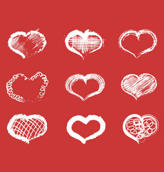 white doodle heart icons set vector image vector image