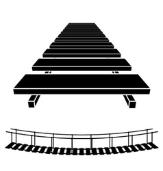 3D simple wooden bridge black symbol vector image vector image