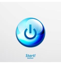 Blue start button vector image