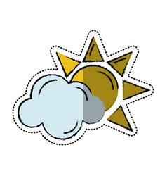 cartoon sun cloud weather symbol vector image