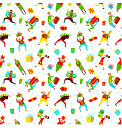 christmas seamless pattern with shopping people vector image