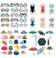 Collection icon of summer fashion accessories in vector