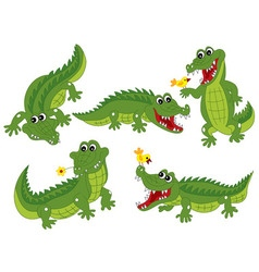Crocodile Set vector image
