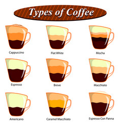 full collection of different type of coffee vector image vector image