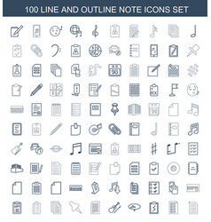 100 note icons vector image