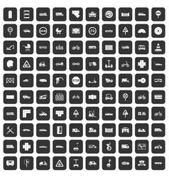 100 road icons set black vector