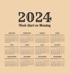 2024 year vintage calendar weeks start on monday vector