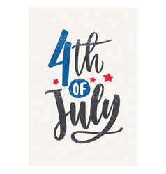 4th of july lettering handwritten with cursive vector