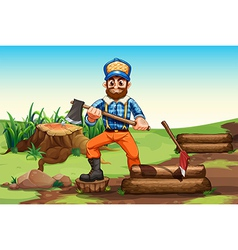 A lumberjack chopping woods vector