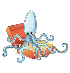 A treasure box with an octopus vector