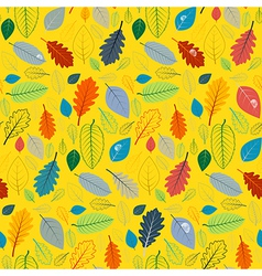 Abstract Yellow Seamless Pattern with Leaves vector image