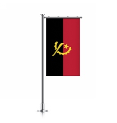 Angola flag hanging on a pole vector
