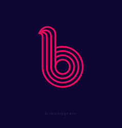 b letter monogram thin lines red web ui icon vector image
