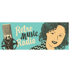 Banner for retro music radio with microphone vector
