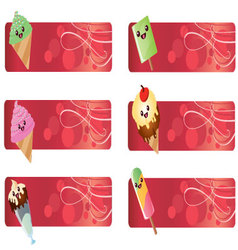 banners with kawaii food vector image
