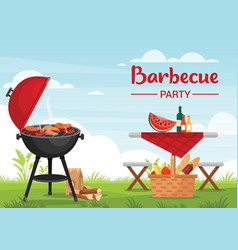 barbeque party outdoors colorful flat vector image