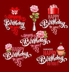 Birthday design elements set vector image