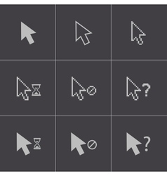 black mouse cursor icons set vector image